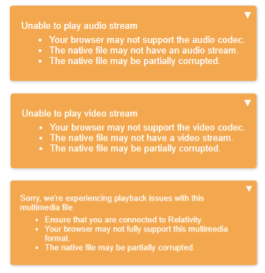Viewer Audio and Video-supported file types