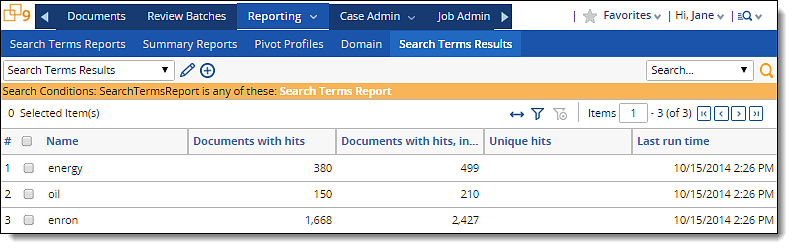 Search terms reports