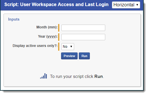 User workspace access and last login